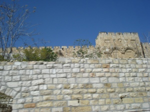 A brick wall at Jerusalem's Golden Gate