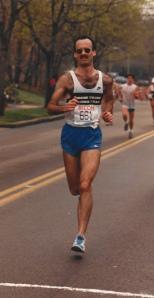My hubby running Boston 1987