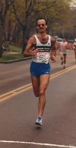 My hubby running Boston 1987