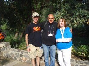 Kirby, Shimone, and Me at Yardenit, just after baptism in Jordan River