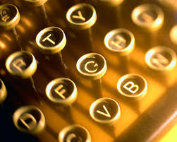 golden typewriter keys