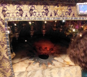 A star symbolizes the place where Jesus was born