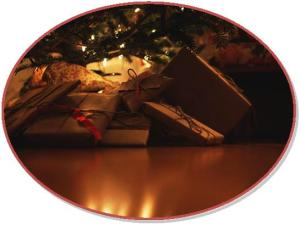 Gifts under tree-oval