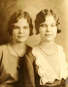 Mom's on the left. Aunt Helen on the right. I think this is their HS grad picture
